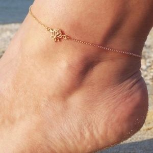 NEW Gold Lotus Flower Trendy Hollow Anklet